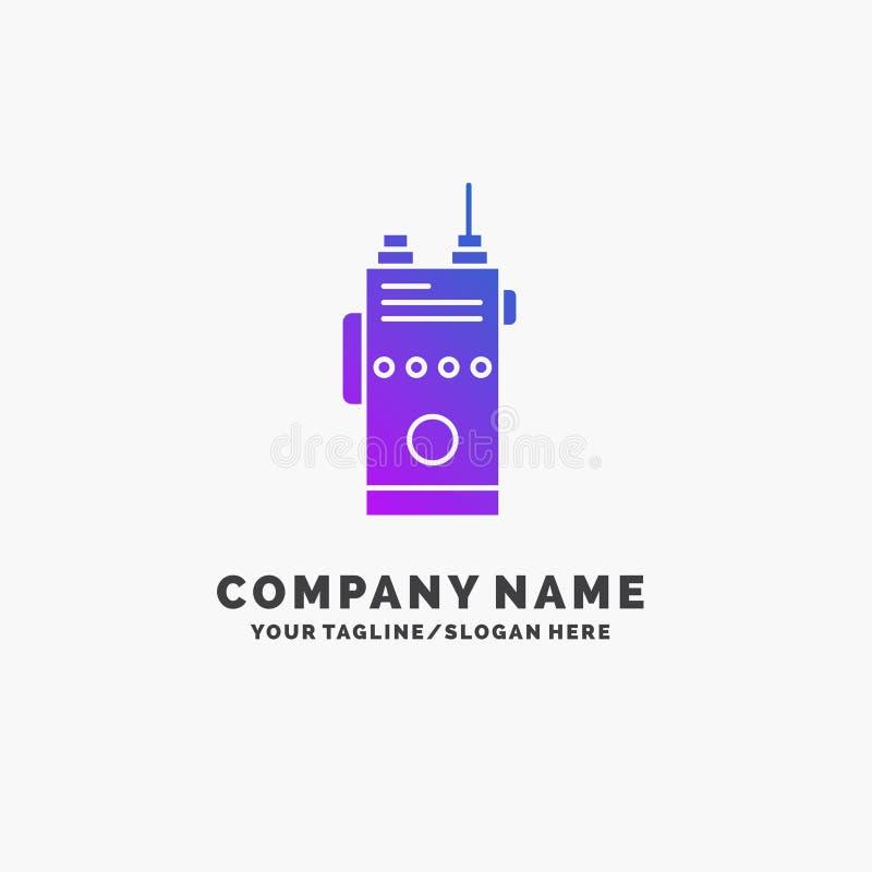 walkie, talkie, mededeling, radio, het kamperen Purpere Zaken Logo Template Plaats voor Tagline royalty-vrije illustratie