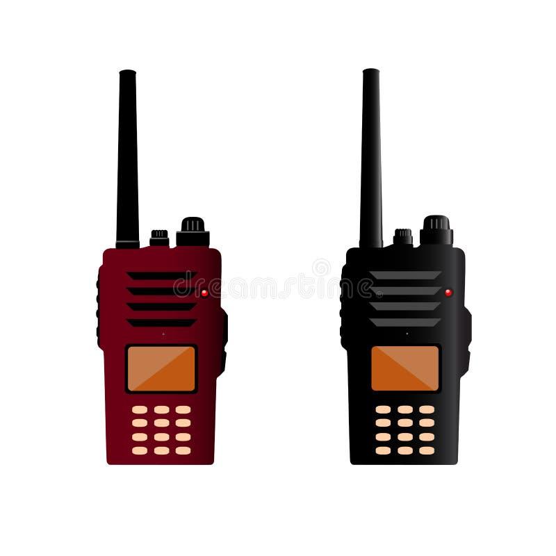 Walkie talkie och polisradio eller radiokommunikation royaltyfri illustrationer