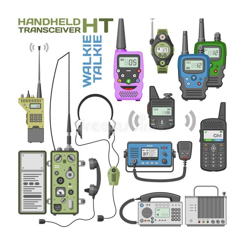 Walkietalkie inalámbrico de la tecnología del dispositivo de comunicación móvil del transmisor portátil de la radio del vector de libre illustration