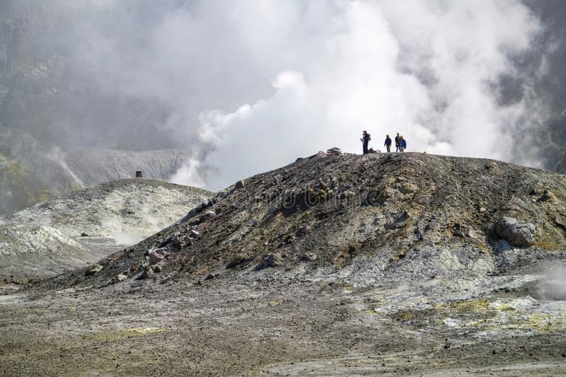 Walking on active volcano royalty free stock image