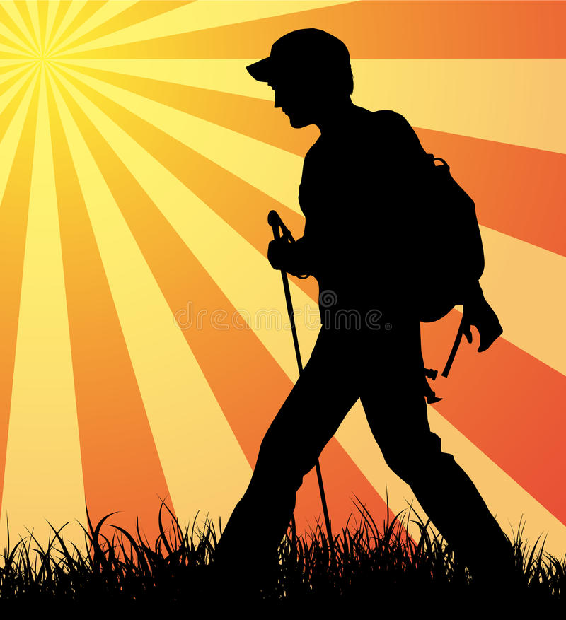 Download Walking all day long. stock vector. Illustration of carrying - 25454321