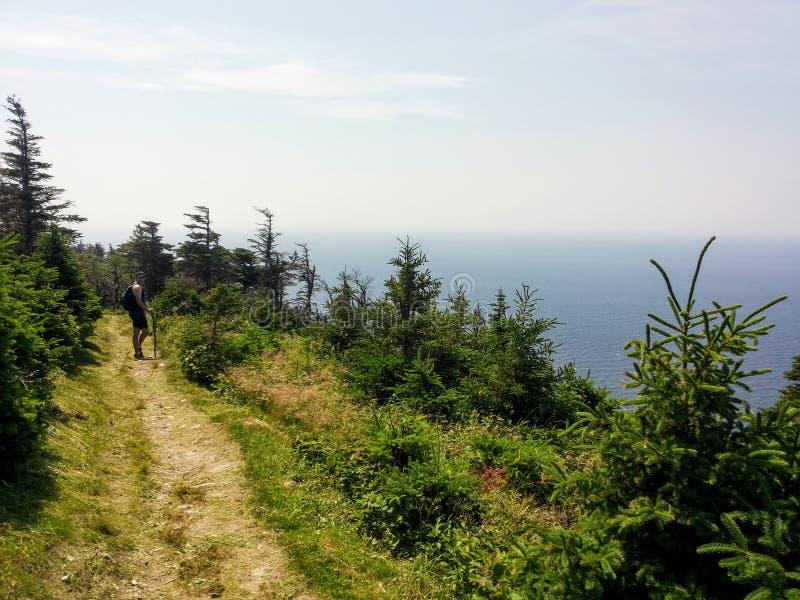 Walking along the skyline trail on Cape Breton Island, Nova Scotia, with the vast Atlantic Ocean behind. Walking along the skyline trail on Cape Breton Island stock photo