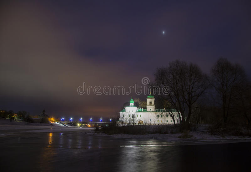 Walking through the ancient city of Pskov in winter Monastery. 4 January 2017. The ancient city of Pskov, Mirozhsky monastery church of Stephen the Archdeacon stock photography