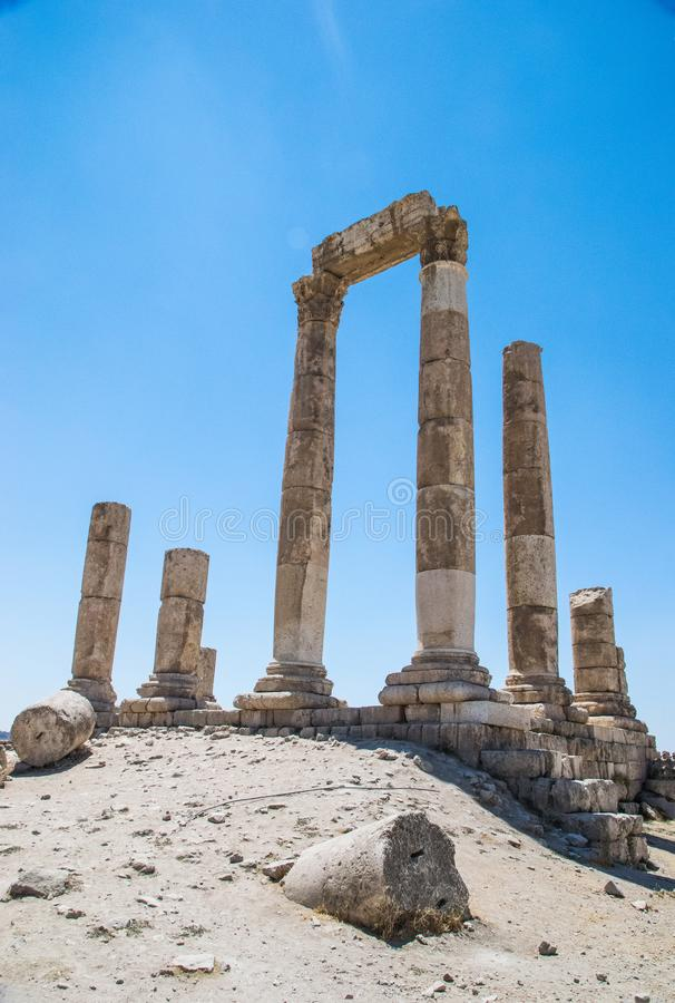 The ruin of Amman, Jordan. Walking around the beautiful ruins of Amman, Jordan, Asia. At the citadel stock photos