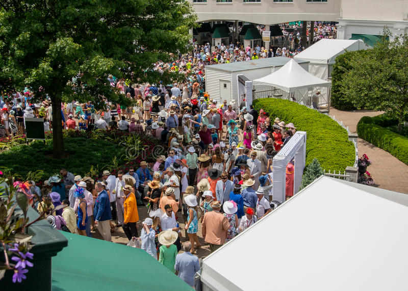 Walking Around Churchill Downs. Louisville, Kentucky: May 7, 2016: Walking around churchill downs on Derby Day among finely dressed crowds royalty free stock photo