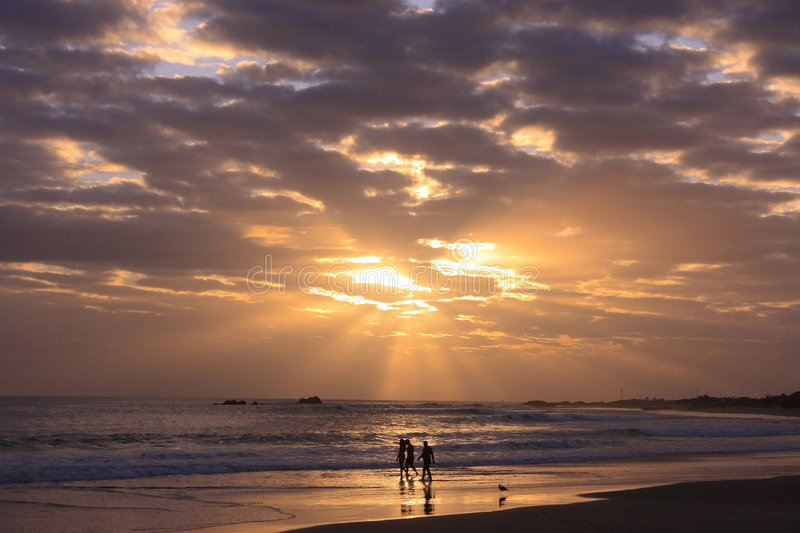 Download Walking on the beach stock image. Image of silhouette - 2002297