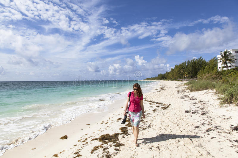Download Walking on a Beach stock photo. Image of caribbean, woman - 28145980