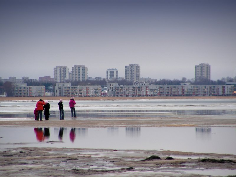 Walking at the beach royalty free stock photography