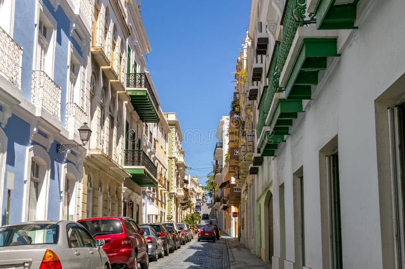 Old San Juan Puerto Rico. Walking a beautiful street, filled with colorful buildings, in Old San Juan Puerto Rico royalty free stock images