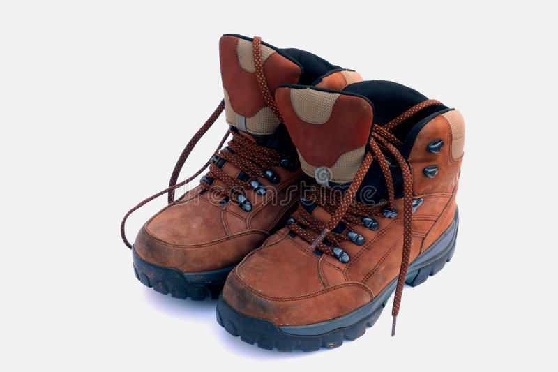 Walking boots. Pair of much loved walking boots stock photography