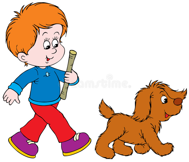Walking Boy and Pup. Vector clip-art / illustration for your design and scrapbook