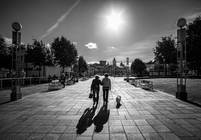 Walking. Braga. Portugal. Black and white. stock photo