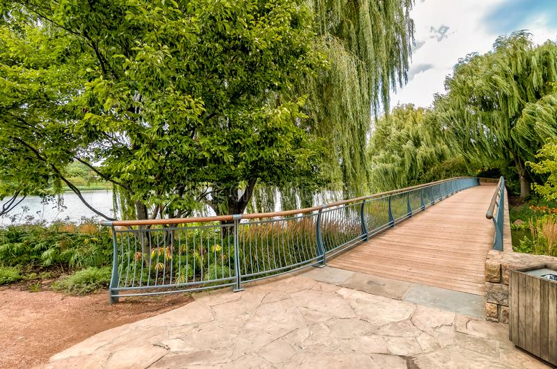 Walking bridge in the Chicago Botanic Garden, summer landscape, Glencoe,USA royalty free stock photos
