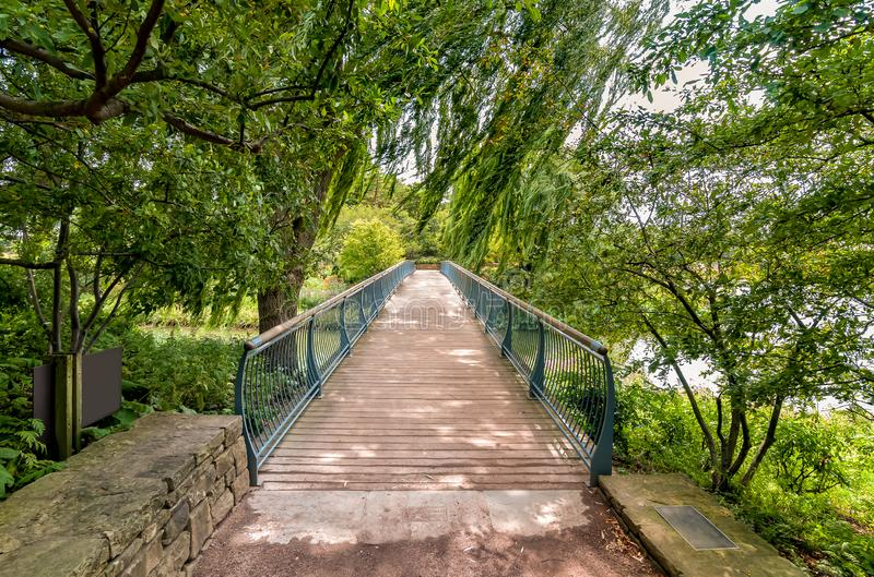 Walking bridge in the Chicago Botanic Garden, summer landscape, Glencoe,USA royalty free stock photography