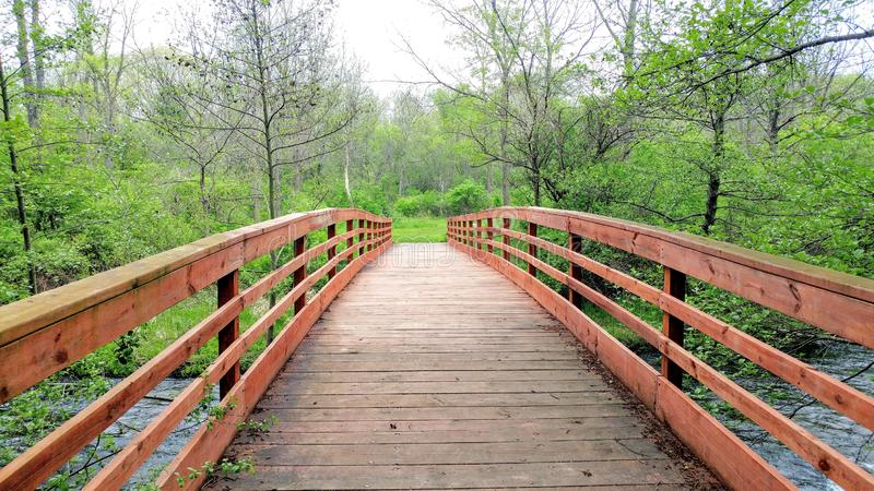 Walking Bridge Crossing the White River royalty free stock photos