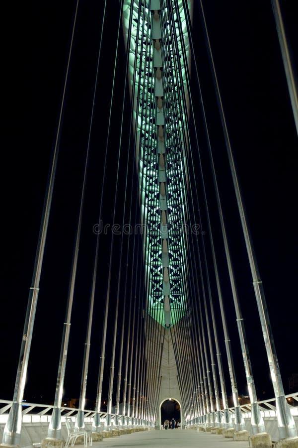 Walking on Bridge Lusitania stock photo