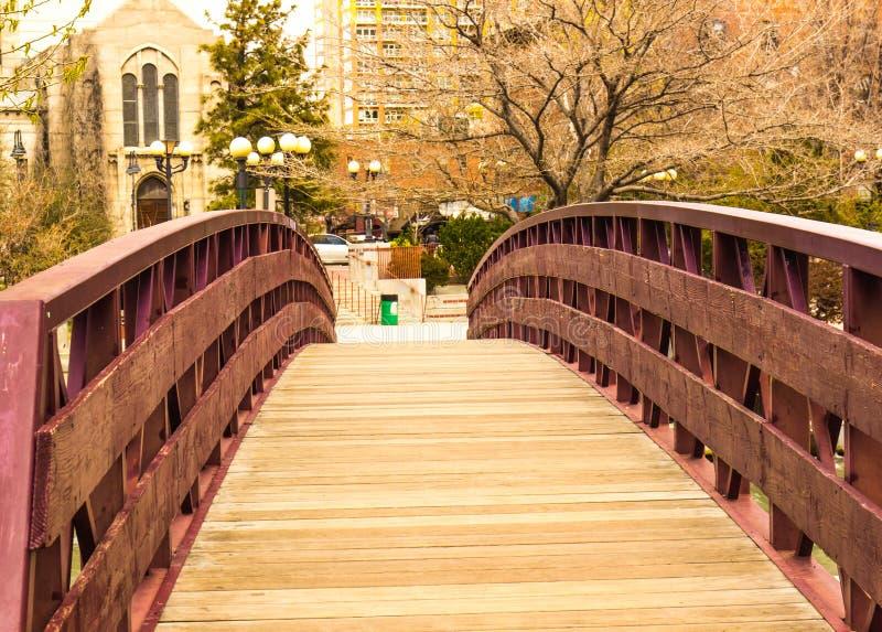Walking Bridge Over River stock image