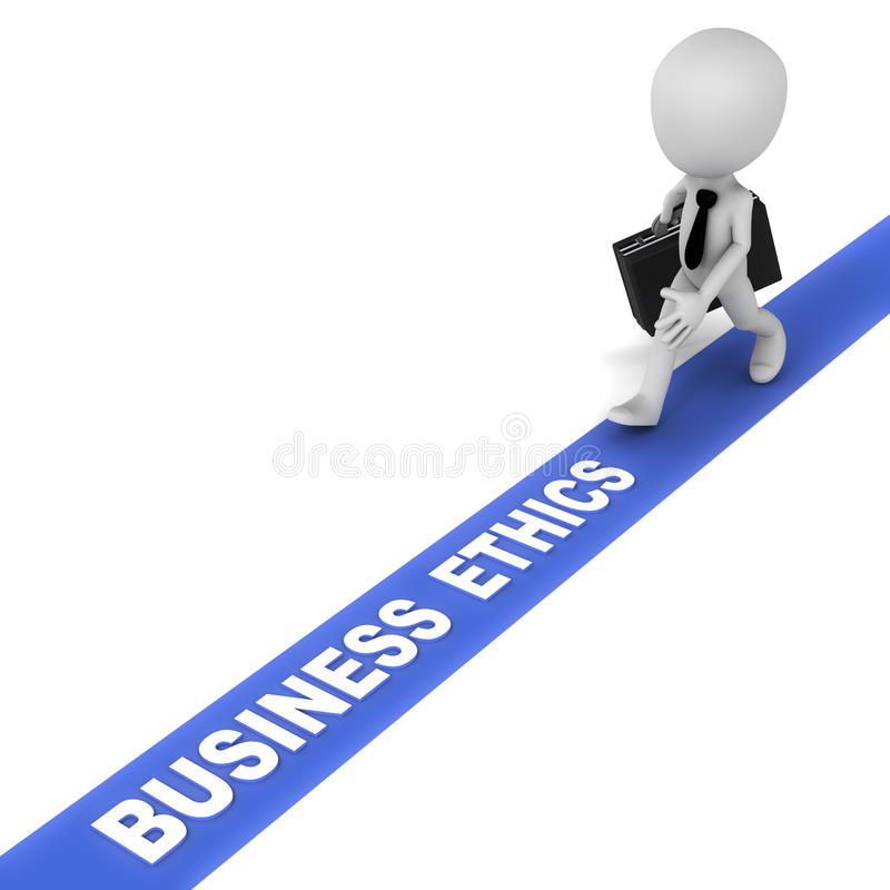 Business ethics. Walking on the business ethics line, a 3d business man obeying rules of ideal business principles, fair and justified business operating rules royalty free illustration