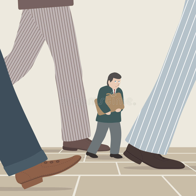 Walking with business giants. Vector illustration of a small businessman walking amongst the intimidating legs of larger businessmen vector illustration