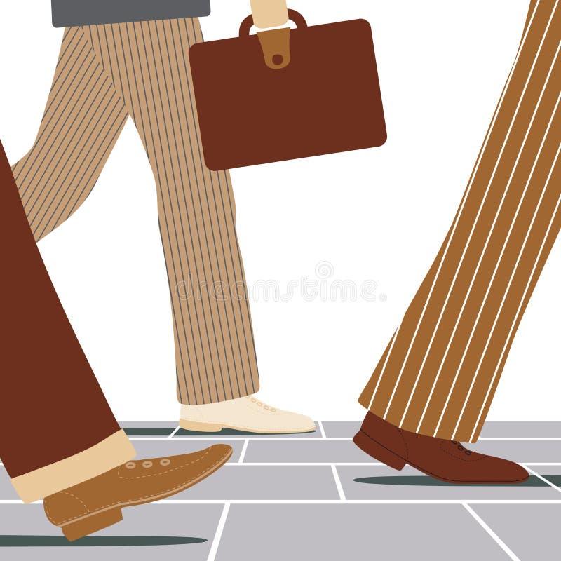 Walking businessmen. Vector illustration of the legs of businessmen walking along a street vector illustration
