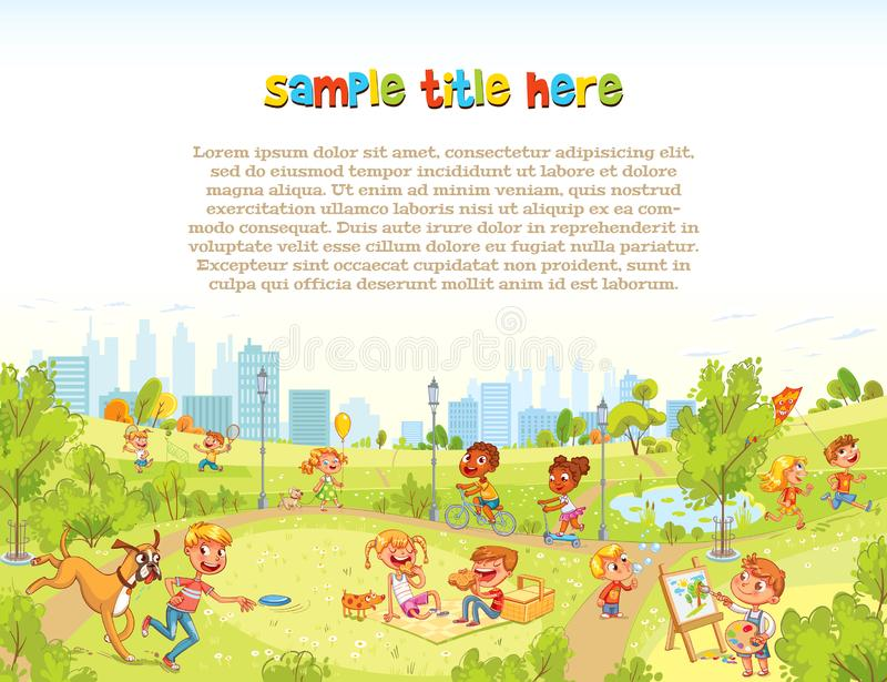 Walking children in City Park. Playground. Template for advertising brochure. Ready for your message. Funny cartoon character. Vector illustration royalty free illustration