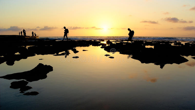 Holiday palinuro picture,silhouette,Walking,cliff,sunset viewing,backlight royalty free stock images