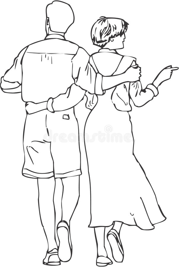 Line Drawing Couple : Walking couple stock illustration of line