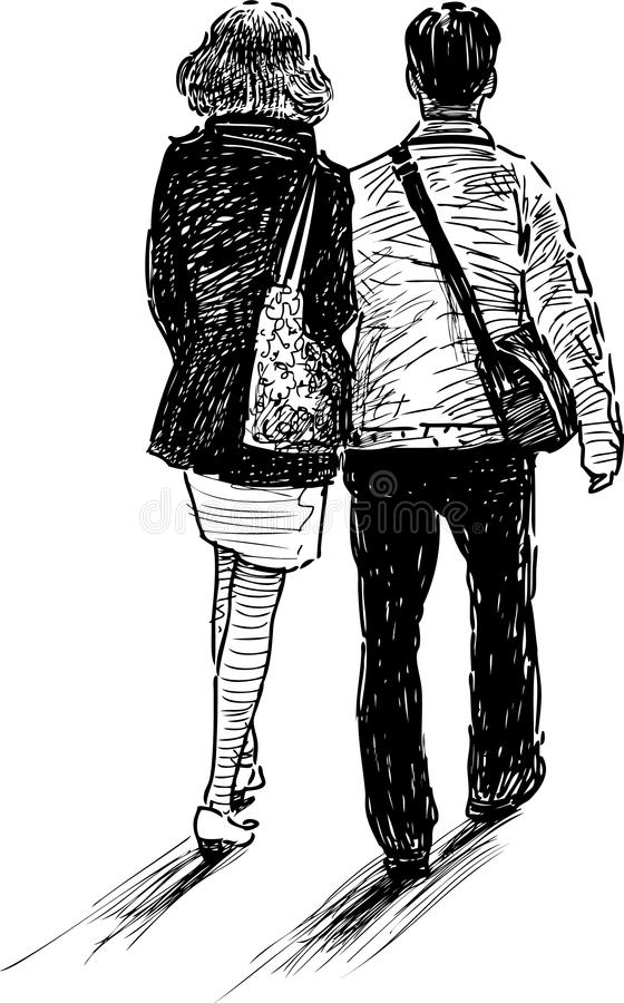 Walking couple vector illustration
