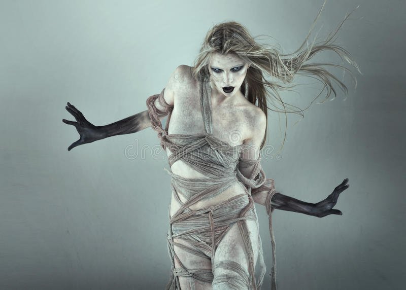 The walking dead scary girl royalty free stock image