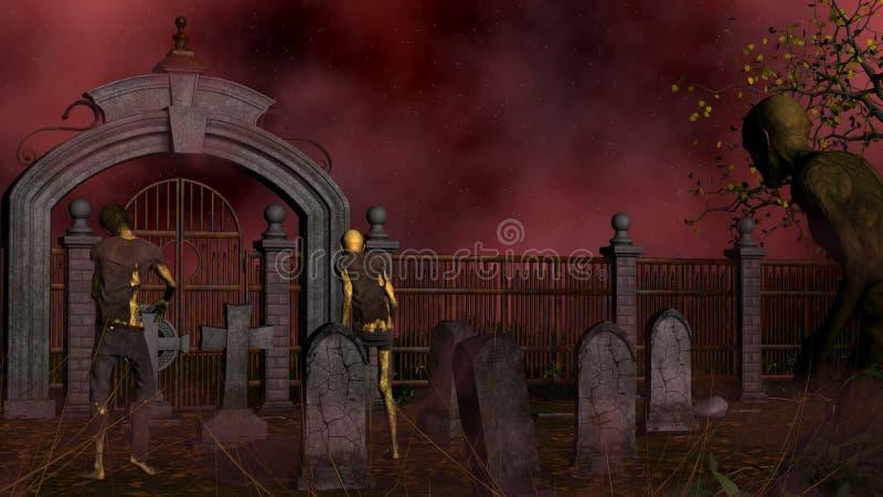 Walking dead in spooky foggy cemetery stock illustration