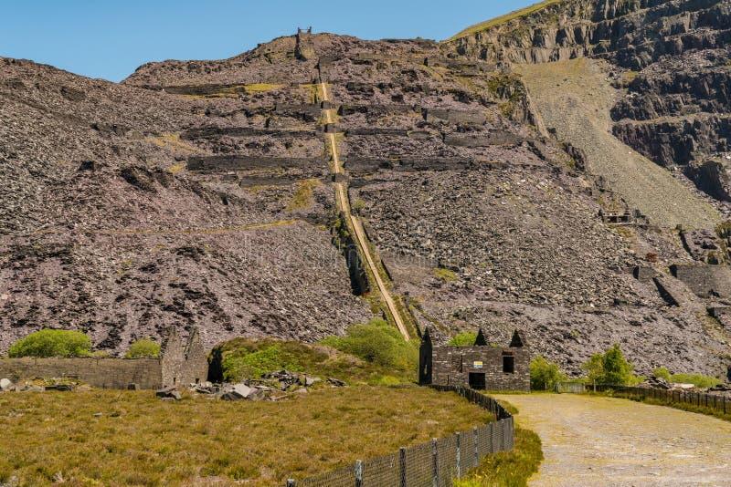Dinorwic Quarry, near Llanberis, Gwynedd, Wales, UK. Walking in the derelict Dinorwic Quarry near Llanberis, Gwynedd, Wales, UK stock images