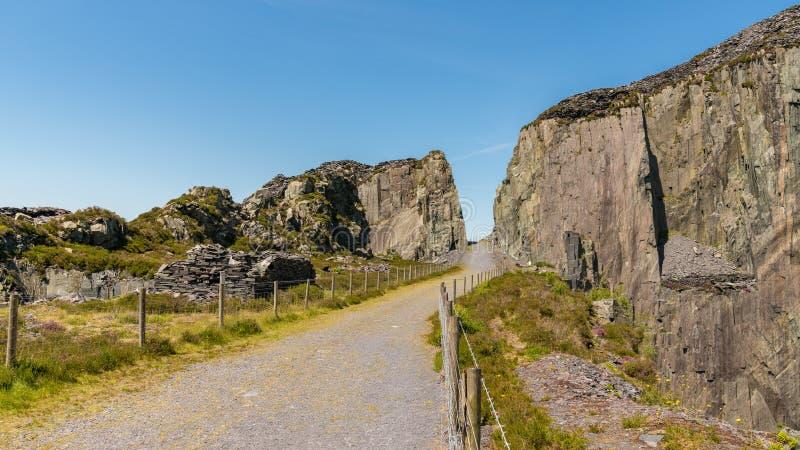 Dinorwic Quarry, near Llanberis, Gwynedd, Wales, UK. Walking in the derelict Dinorwic Quarry near Llanberis, Gwynedd, Wales, UK royalty free stock photos