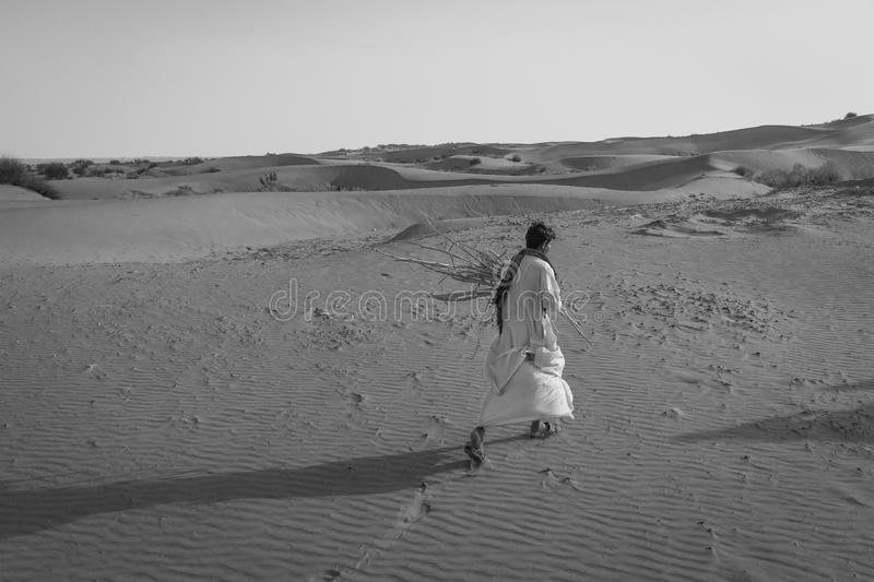 Walking in the Desert, Rajasthan, India stock photo