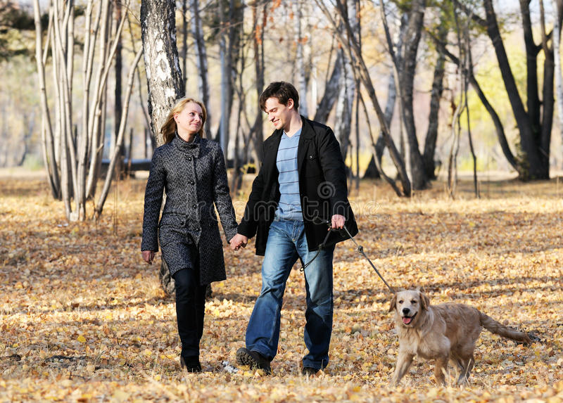Walking with dog stock photo