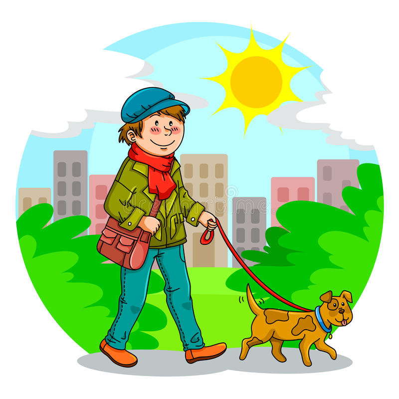 Download Walking the dog stock vector. Image of grass, lifestyle - 25104965