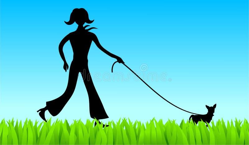 Walking the dog royalty free illustration