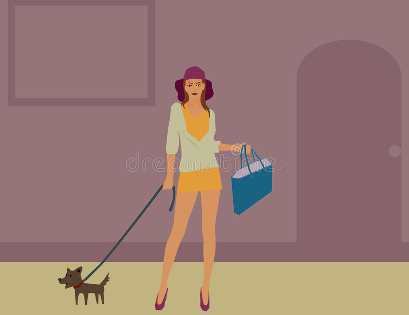 Download Walking a dog stock vector. Image of hand, hair, city - 7649061