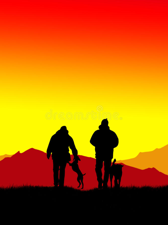 Download Walking with dogs stock illustration. Image of outdoors - 14934709