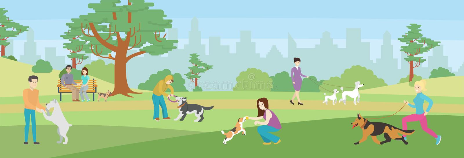 Walking dogs in park. People take care of their dogs. Beautiful green park vector illustration