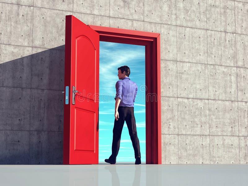 Walking through a door stock illustration
