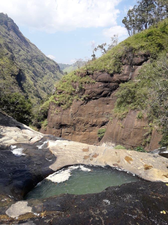Upper Ravana Falls Ella sri lanka. Walking down from ambadandegama village to Upper Ravana Falls,  Ella sri lanka royalty free stock photography