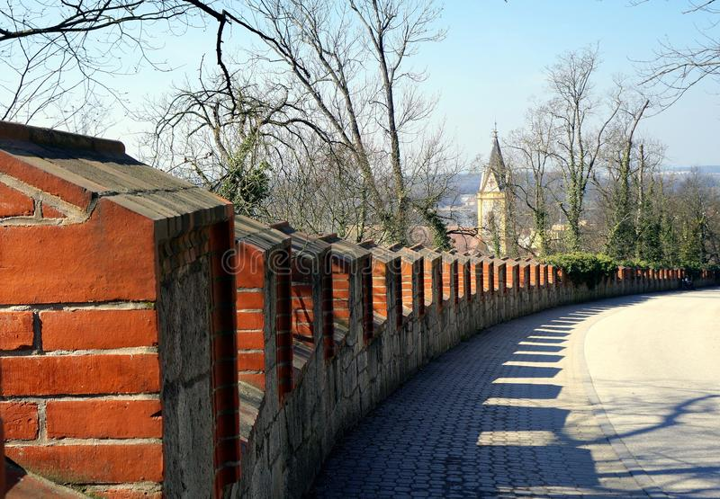 Walking down from The castle. In Hluboká nad Vltavou in spring stock photo