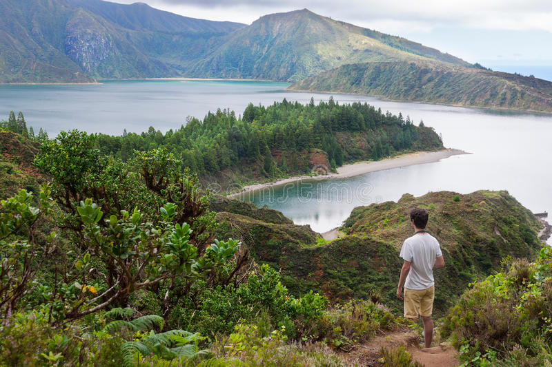 Walking down to Lagoa do Fogo in Sao Miguel royalty free stock images