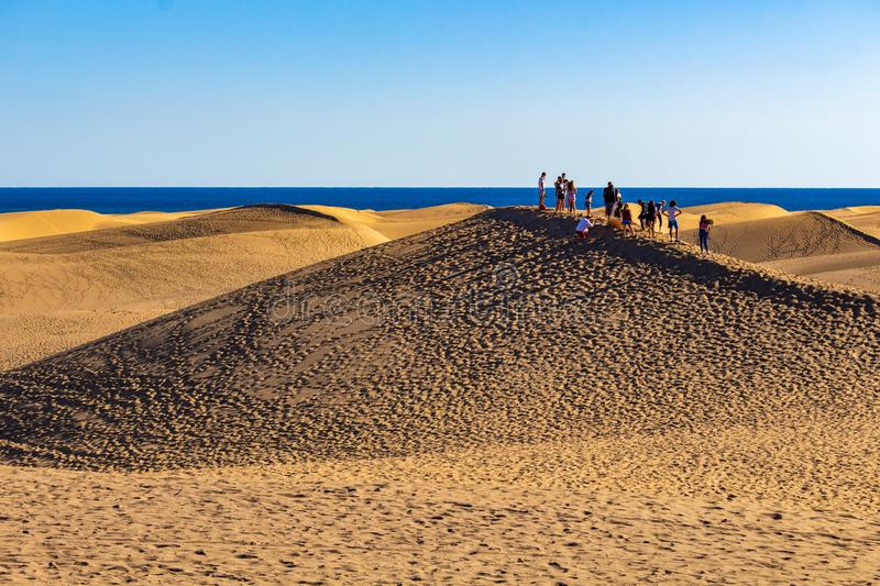 Walking on the dunes of Gran Canaria stock photo