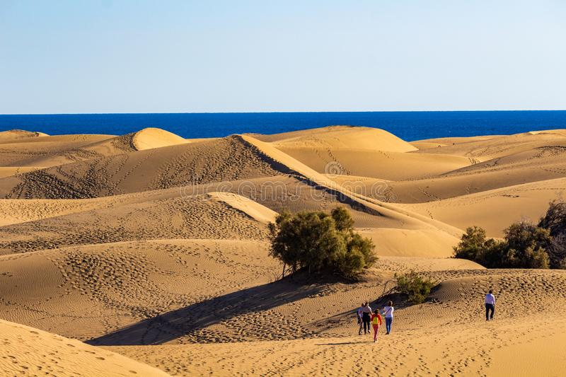 Walking on the dunes of Gran Canaria stock photography