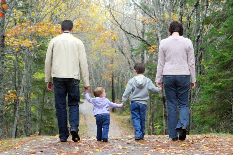 Walking family. Family Walking through the woods stock photos