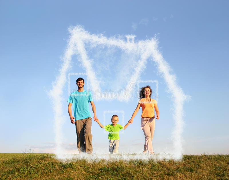Walking family with boy and dream cloud house