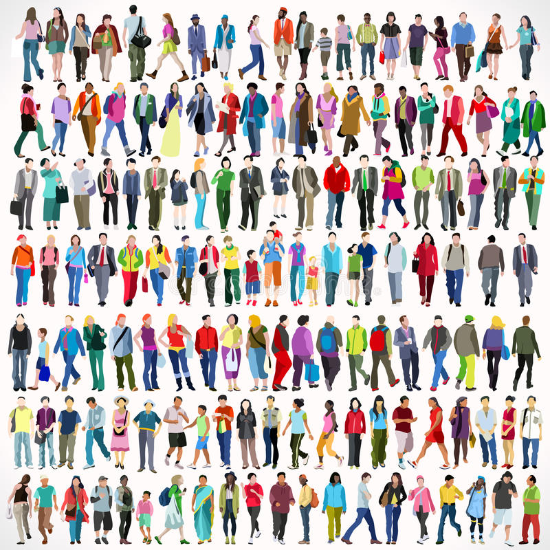 Walking Flat 01 People 2D. Urban Multiethnic People Large Set. Colorful Flat Icon Set of Walking Female and Male Characters. Asiatic British African Indian Young stock illustration