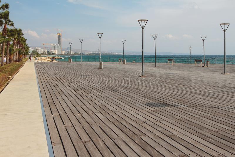 Walking flooring on city embankment. Limassol, Cyprus. 2019-10-23 stock image