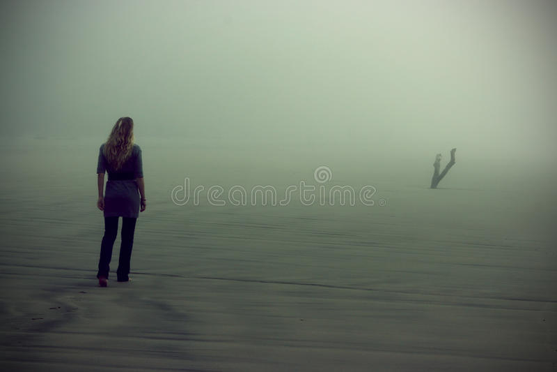 Walking in fog royalty free stock photos